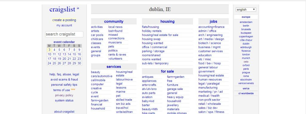 Craigslist-job portals in Ireland