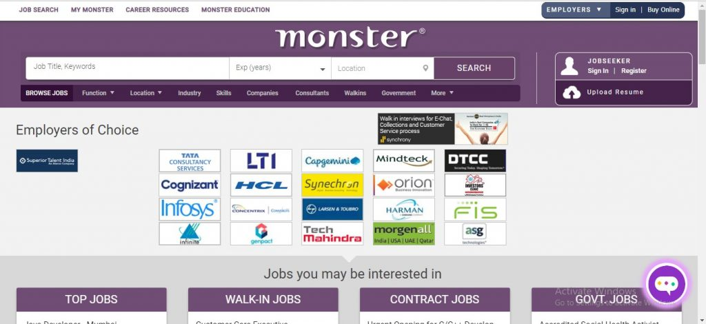 Monster India Jobs