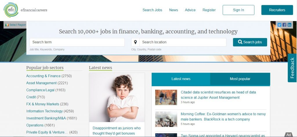 efinancial careers- job portals in Ireland