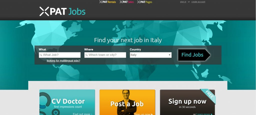 xpat jobs- job sites in Italy