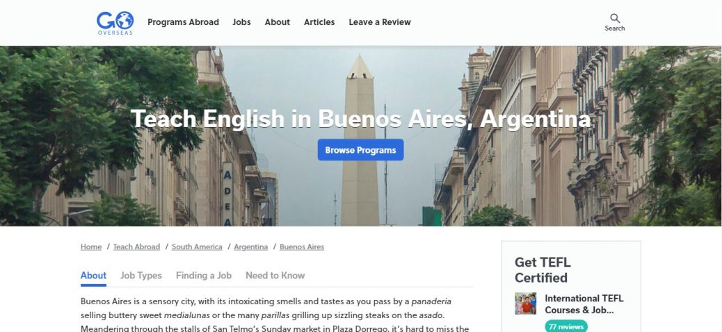 Go overseas- jobs in argentina for expats