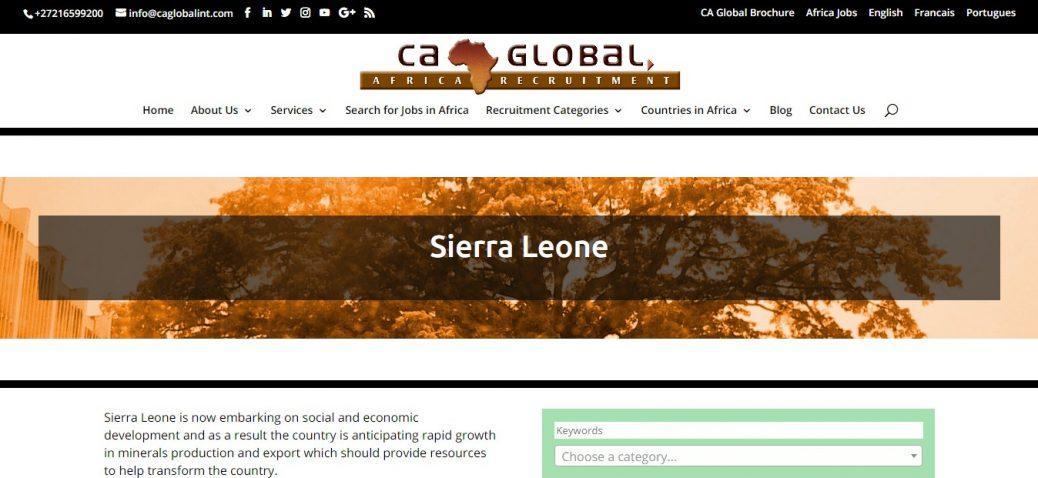 ca global- job vacancies in sierra leone