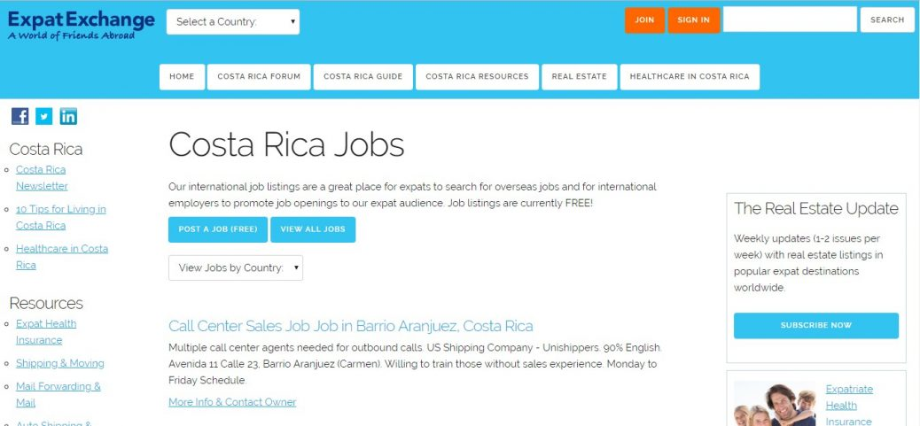 expat exchange- jobs in costa rica for expats
