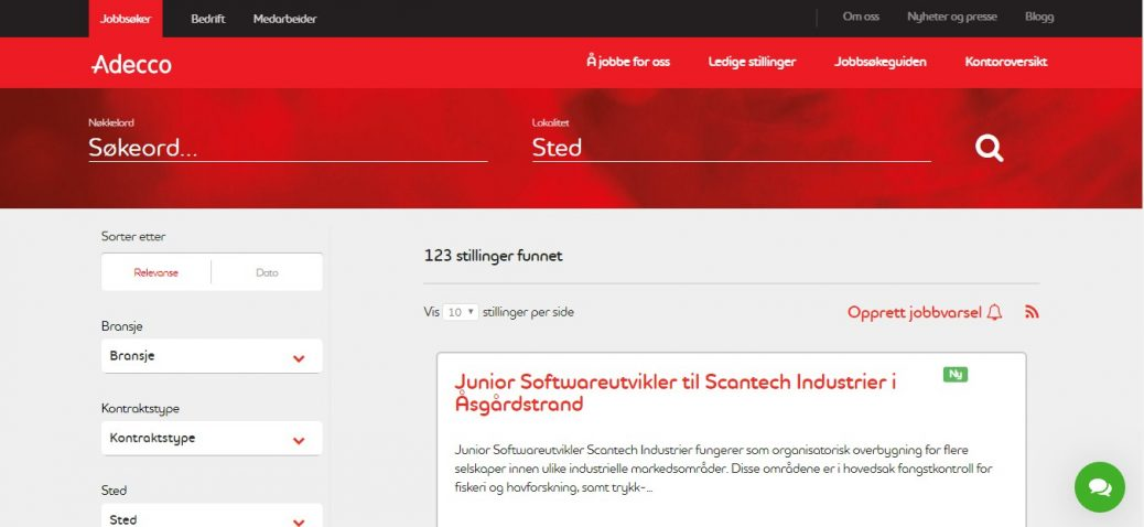 Adecco-job websites in norway