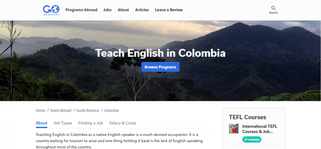 Go overseas -jobs in colombia for expats