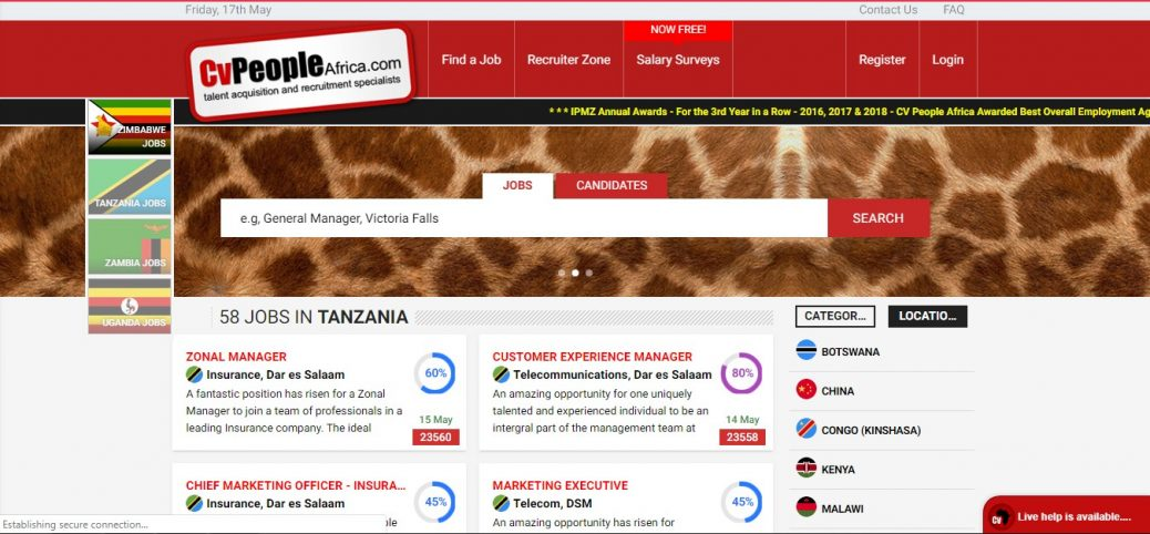cv people africa -job sites in tanzania