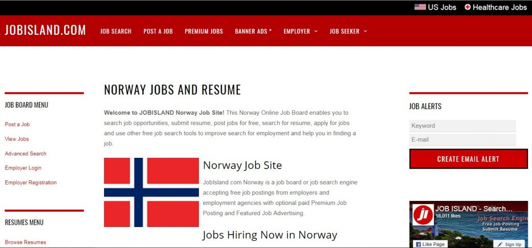 jobisland -job websites in norway
