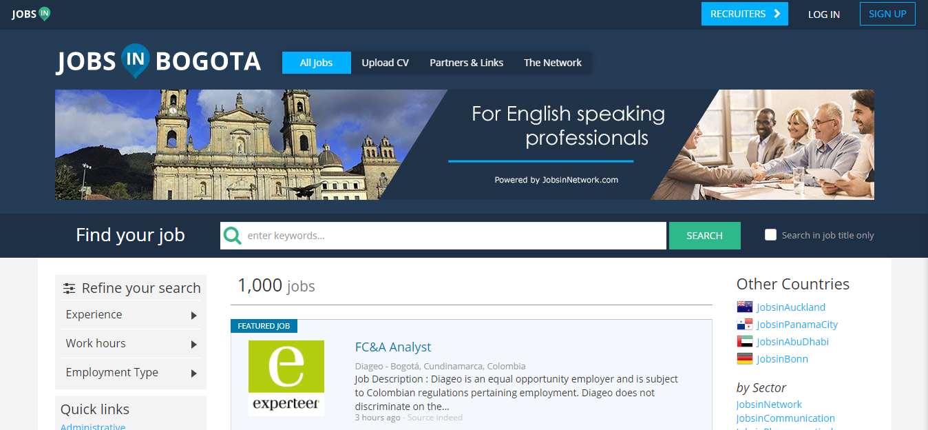 jobs in bogota - jobs in colombia for expats