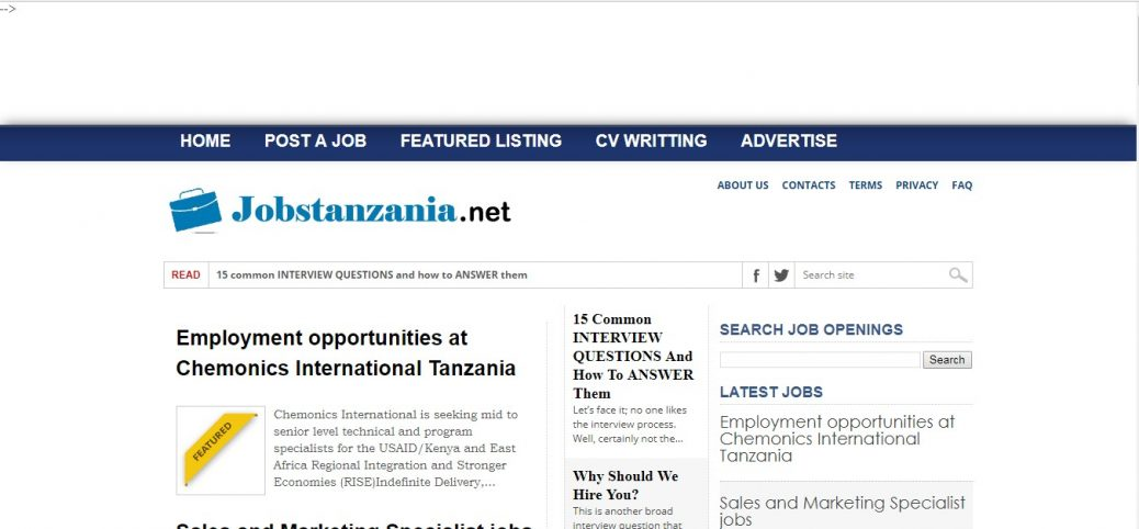 jobs in tanzania-job sites in tanzania