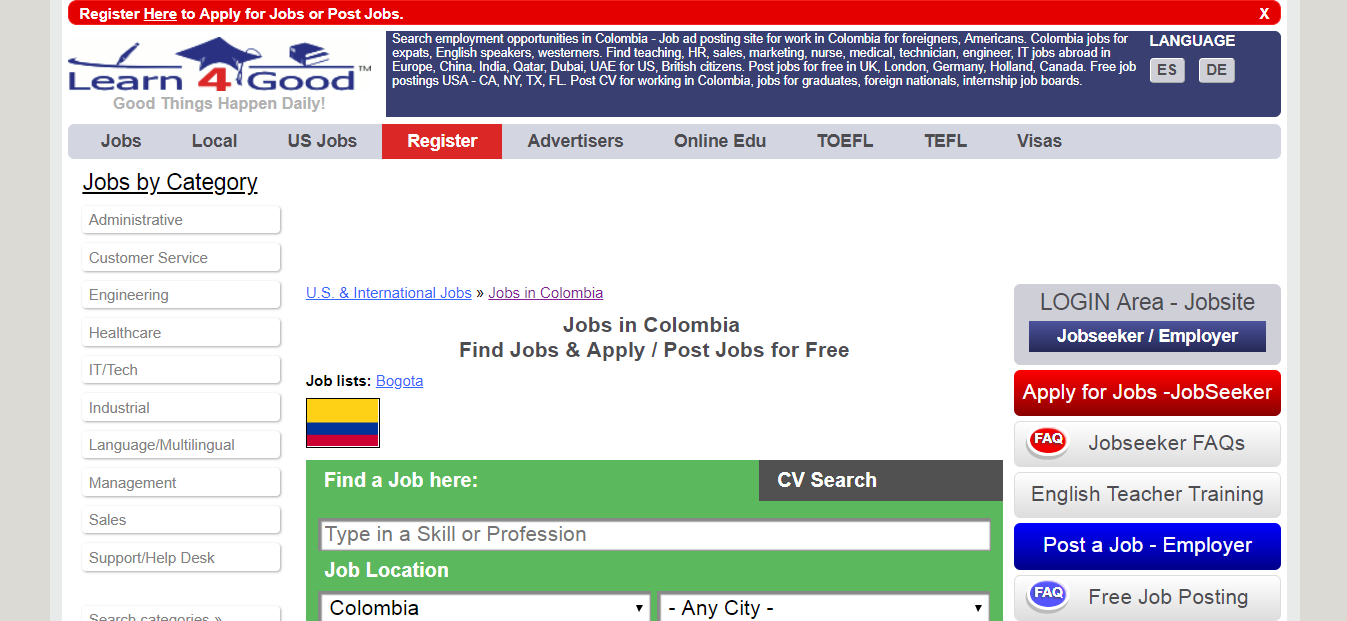 learn4good - jobs in colombia for expats
