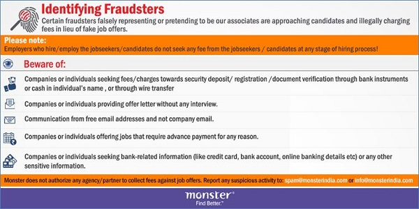 How to identify fraud on monsterindia