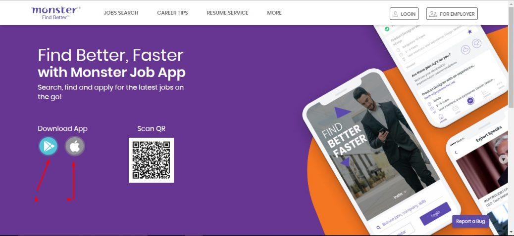 Monsterindia Job Mobile App page