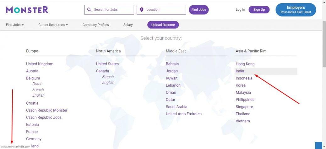 Monsterindia listed on monster.com