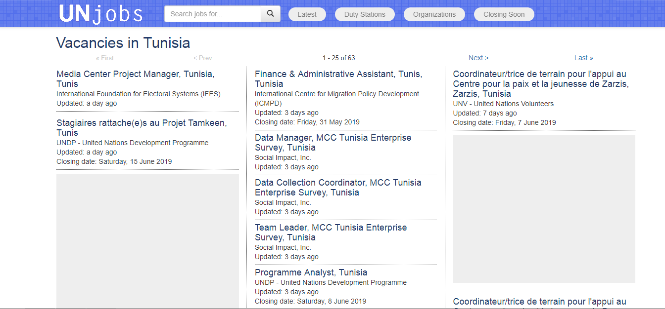 UN jobs -job oportunities in tunisia