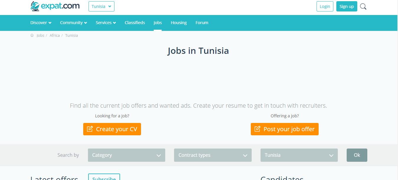 expat.com job opportunities in tunisia