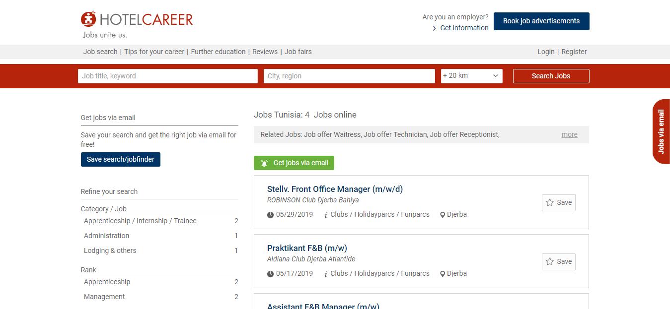 hotel career - job opportunities in Tunisia
