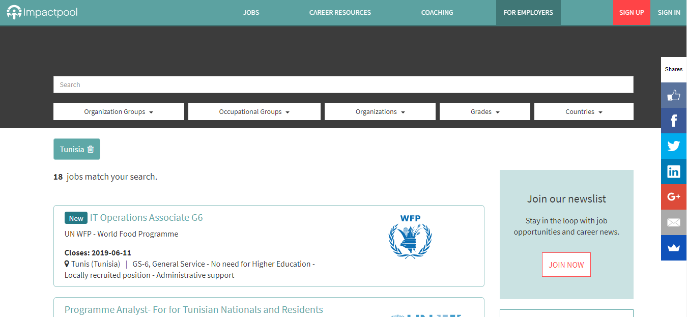 impactpool -job opportunities in tunisia