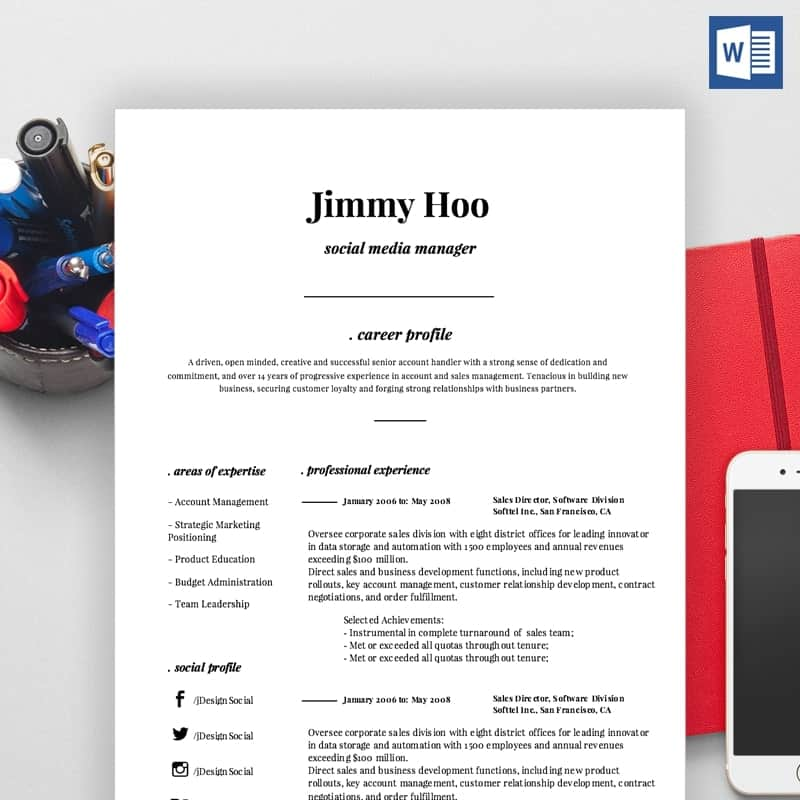 Social Media Manager CV, Resume Sample & Cover Letter (Word ...