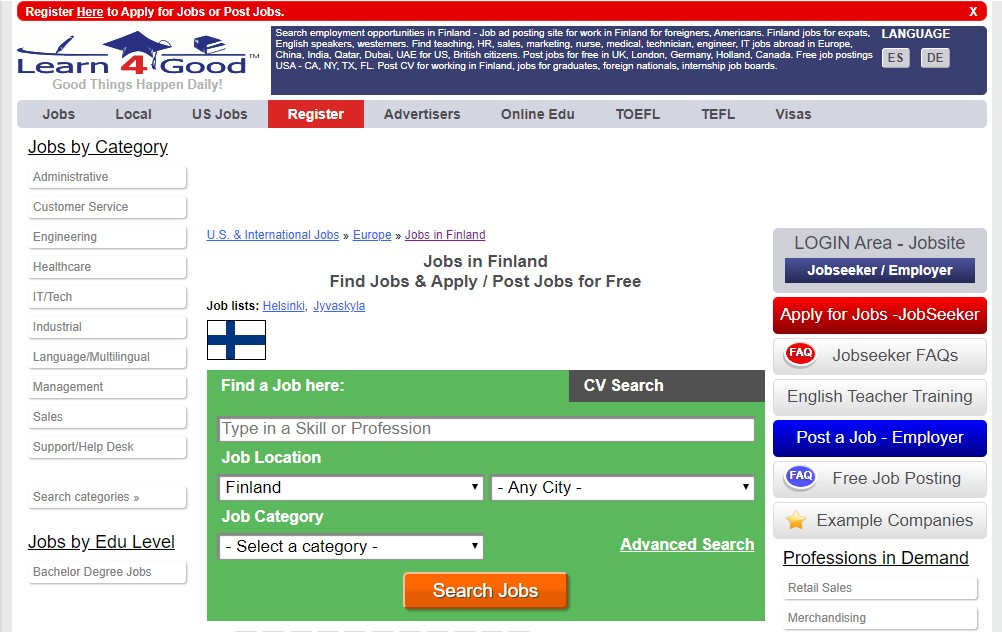 learn4good - job sites in finland