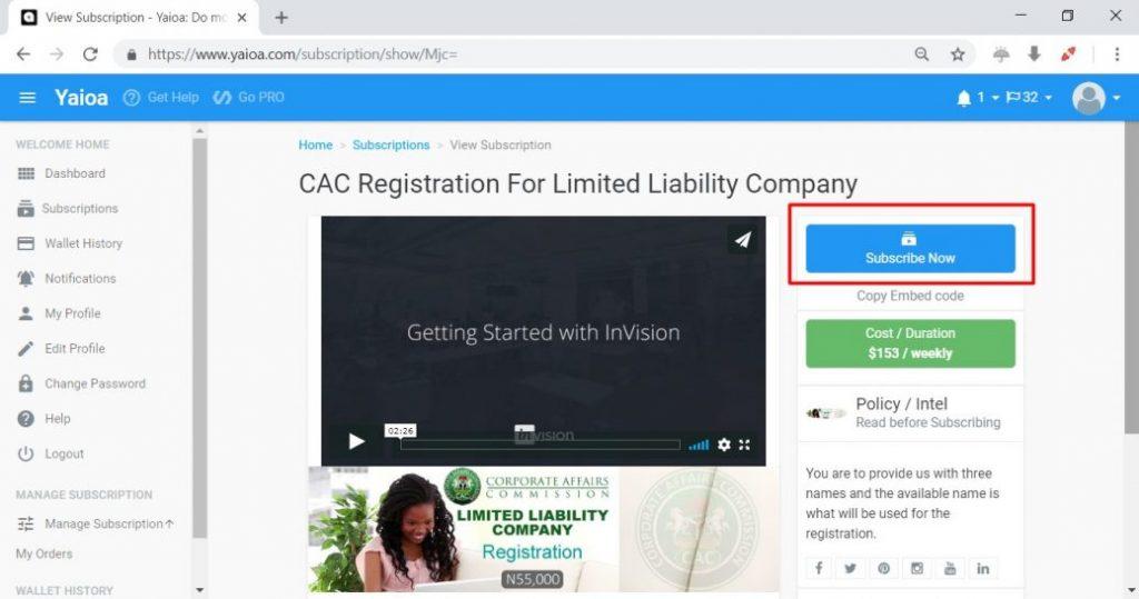 CAC 6 Subscription Details
