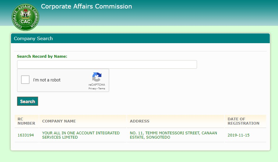 CAC Public Name Search Result