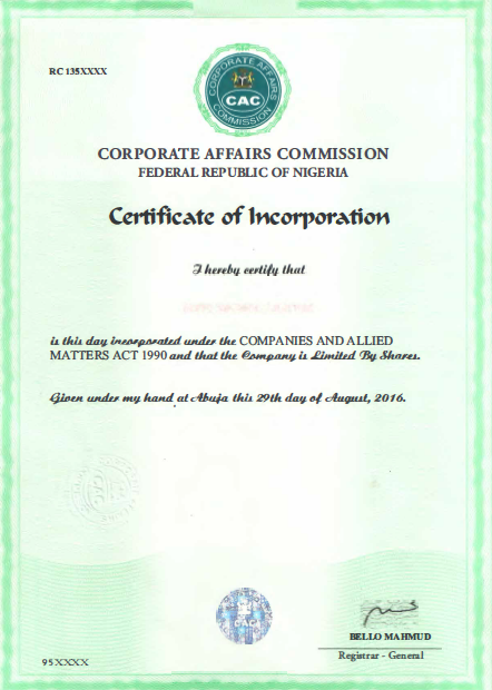 Certificate of Incorporation - CAC certificate