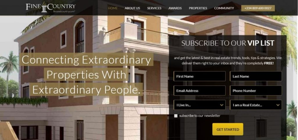 fine & country - real estate companies in Lagos