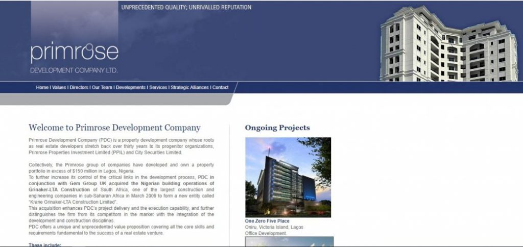 primerose development company ltd - real estate companies in nigeria