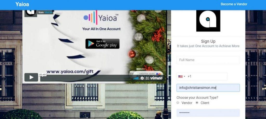 yaioa client signup