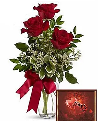 3 Red Roses with Greeting Card