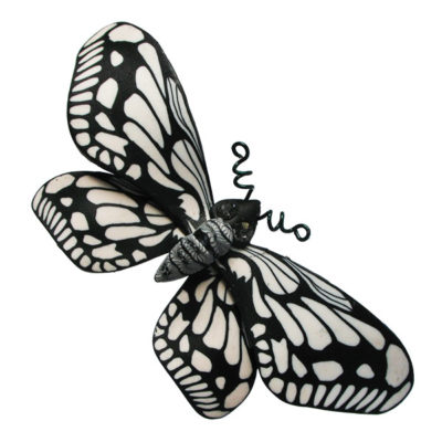 Black and White Butterfly Brooch