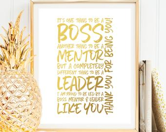 Boss Thank You Gift - It's One Thing to be a Boss Motivational printable Wall Art