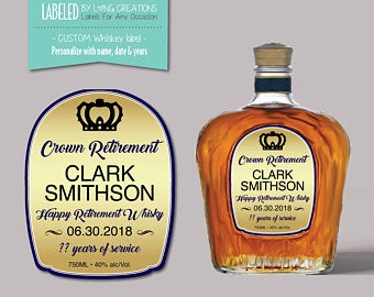 Crown Retirement – Personalized Canadian Whiskey Label