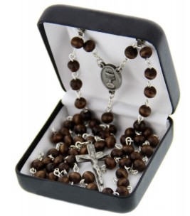 First Communion Brown Wood Rosary with Chalice Centerpiece