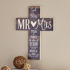 God Bless Mr and Mrs Wooden Cross
