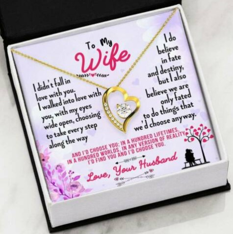 Husband To Wife Anniversary Gift, Lifetime Together Heart Pendant Necklace