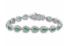 Miabella Green Cubic Zirconia and Created White Sapphire Sterling Silver Bracelet