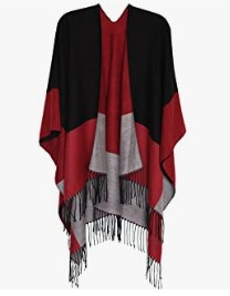 MissShorthair Women's Printed Shawl Wrap Fashionable Open Front Poncho Cape