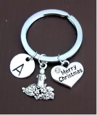 Personalized Christmas Keychain with Initial Candle Charm