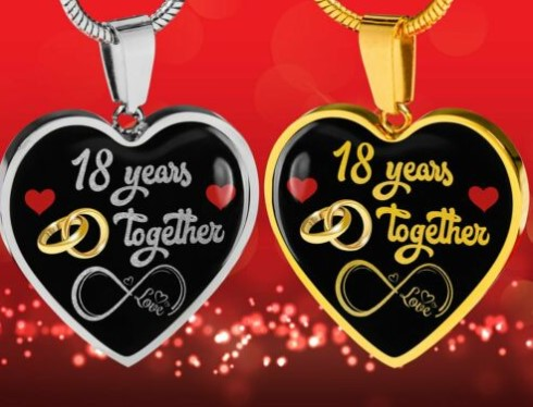Personalized Engraved 18th Wedding Anniversary gift for her
