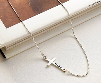 Personalized Side Cross Necklace