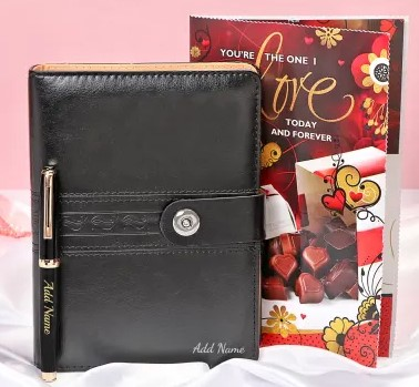 Personalized pen & Diary with Valentine Card