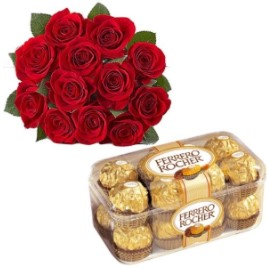 Red Roses with Ferrero
