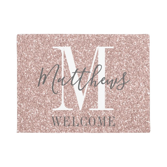 Rose Gold Pink Glitter Monogram Name Newlyweds Doormat