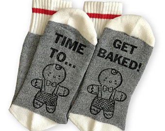 Time To Get Baked Funny Socks