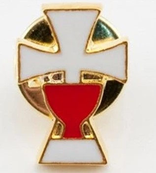White Cross and Red Chalice Pin