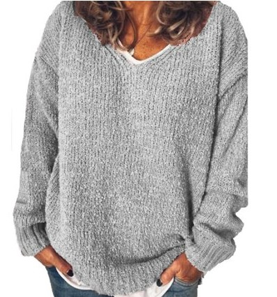 ZANZEA Fashion Women V Neck Long Sleeve Knitted Sweater Loose Jumper Pullover Knitwear