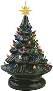 Cool Christmas Gifts Canada-14 inch Retro Prelit Ceramic Tabletop Christmas Tree With 52 Multicolored Lights (Green)