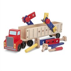 Toddler Gifts Canada-BIG RIG BUILDING TRUCK WOODEN PLAY SET