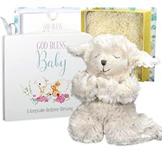 Baby Baptism Gift Set with Praying Musical Lamb and Prayer Book in Keepsake Box